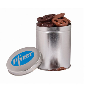 One Quart Tin with Choc Mini Pretzels