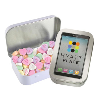 Rectangular Tin - Imprinted Conversation Hearts