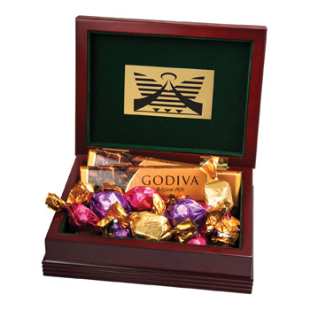 Deluxe Wood Box with Godiva Chocolate