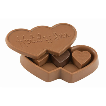 Double Heart Box with 3 Solid Heart Truffles