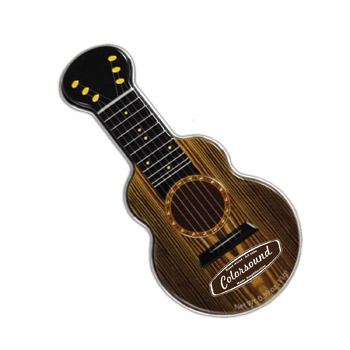 Dark Woodgrain Acoustic Guitar Shaped Mint Tin