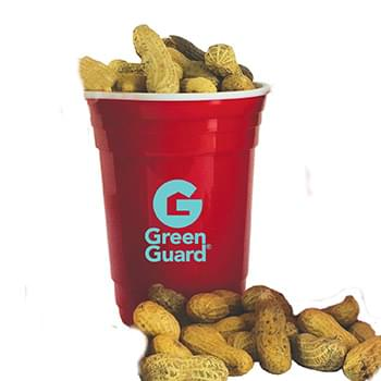 Double-Wall Red Plastic Party Cups with Shelled Peanuts