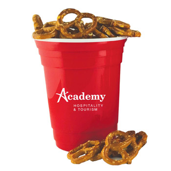 Double-Wall Red Plastic Party Cup with Mini Salted Pretzels